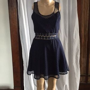 Navy Blue dress size small with lace detail